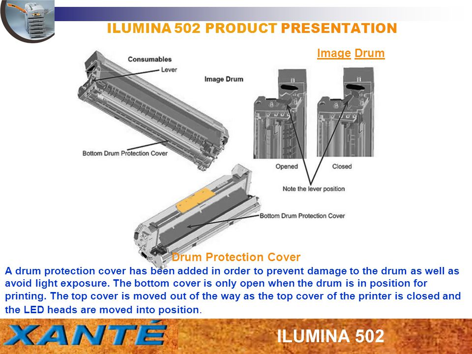 ILUMINA 502 PRODUCT PRESENTATION Image Drum Drum Protection Cover A drum protection cover has been added in order to prevent damage to the drum as wel