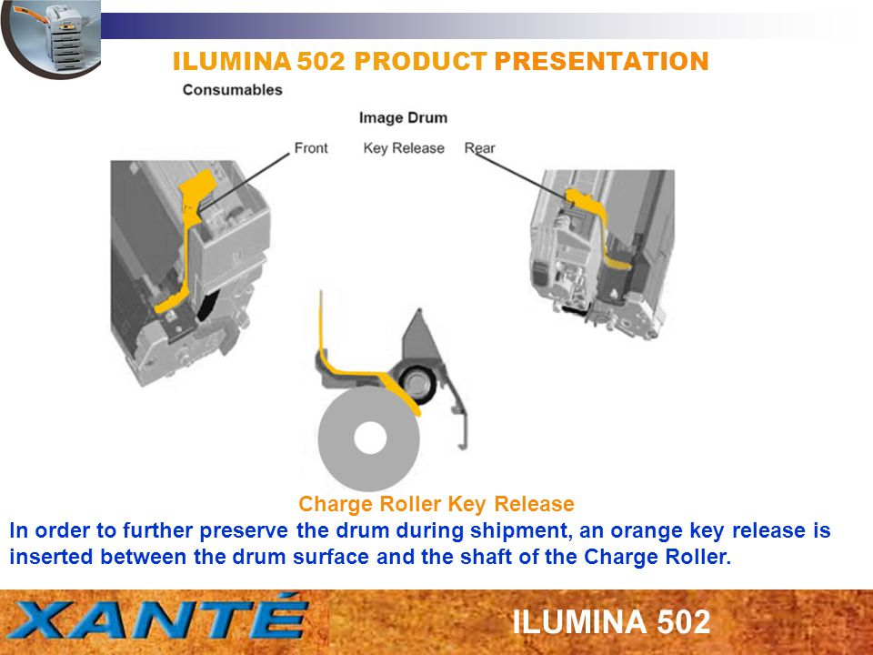 ILUMINA 502 PRODUCT PRESENTATION Charge Roller Key Release In order to further preserve the drum during shipment, an orange key release is inserted be