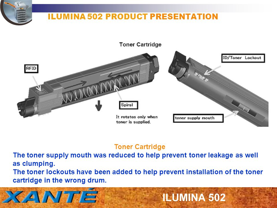 ILUMINA 502 PRODUCT PRESENTATION Toner Cartridge The toner supply mouth was reduced to help prevent toner leakage as well as clumping. The toner locko