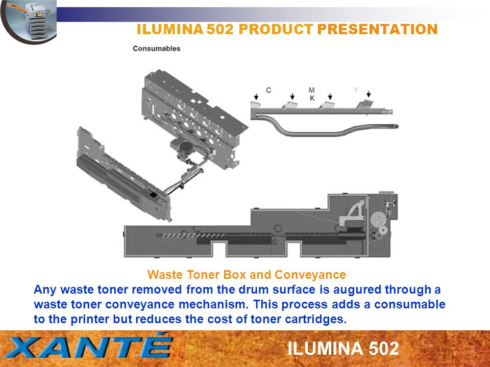 Waste Toner Box and Conveyance Any waste toner removed from the drum surface is augured through a waste toner conveyance mechanism. This process adds