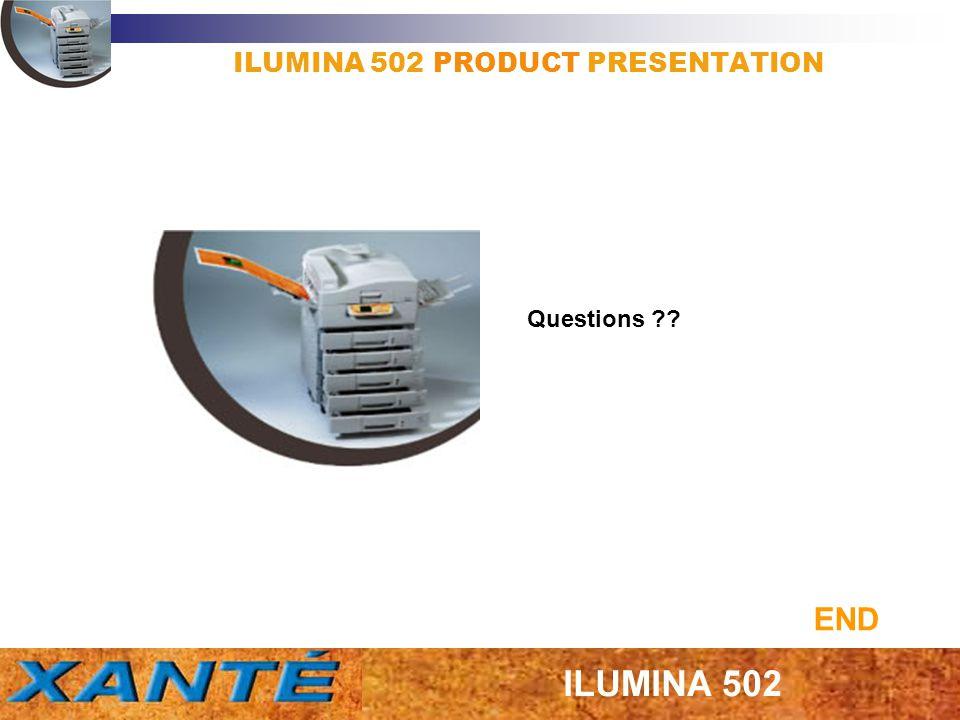 ILUMINA 502 PRODUCT PRESENTATION Questions ?? END