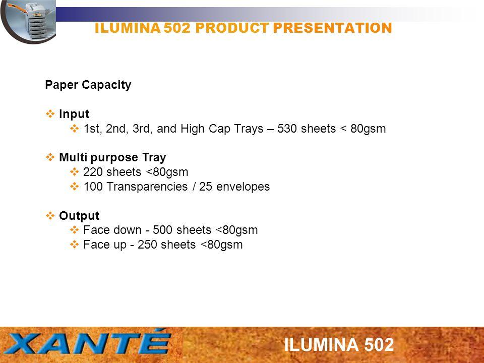ILUMINA 502 PRODUCT PRESENTATION Heavy Stock Fuser