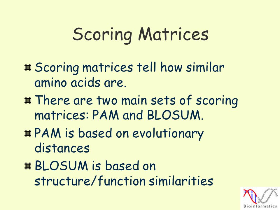 Scoring Matrices Scoring matrices tell how similar amino acids are. There are two main sets of scoring matrices: PAM and BLOSUM. PAM is based on evolu