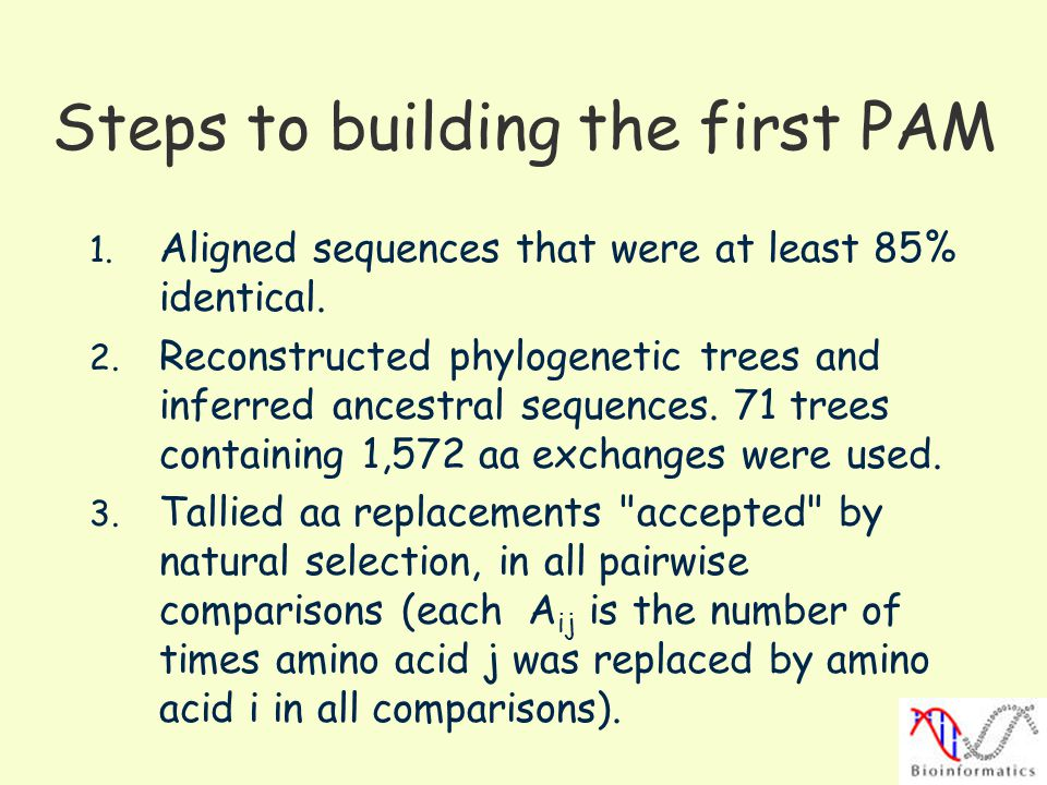 Steps to building the first PAM 1.Aligned sequences that were at least 85% identical.