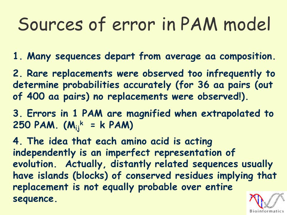 Sources of error in PAM model 1.Many sequences depart from average aa composition.