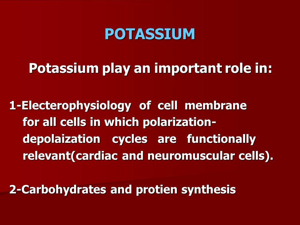 POTASIUM DISTRIBUTION In 70 kg Intracellular 98% 3430 meq K content = 50 meq/kg Total body K = 3500 meq Extracellular 2% 70 meq Plasma 20% 15 meq Na-K ATPase