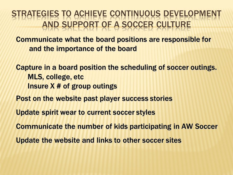 Communicate what the board positions are responsible for and the importance of the board Capture in a board position the scheduling of soccer outings.