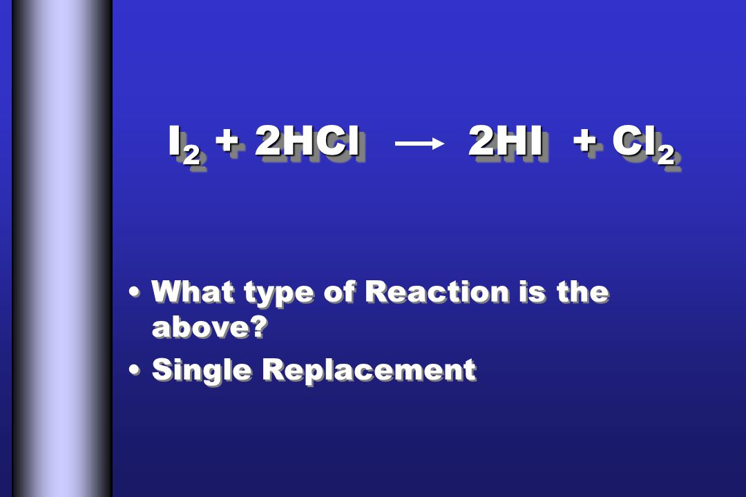 I 2 + 2HCl 2HI + Cl 2 What type of Reaction is the above.