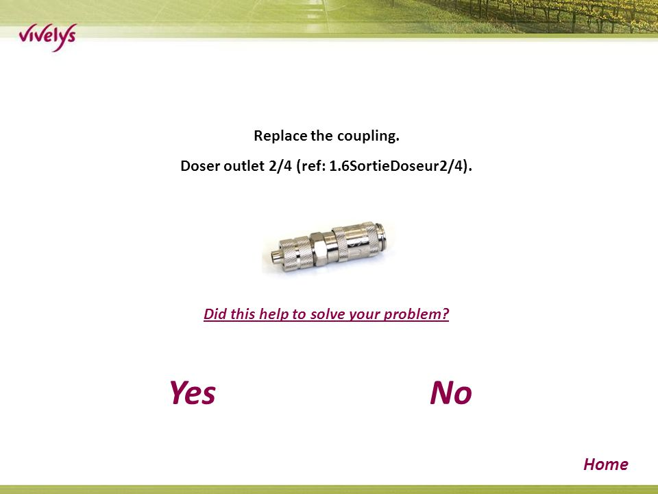 Replace the coupling. Doser outlet 2/4 (ref: 1.6SortieDoseur2/4).