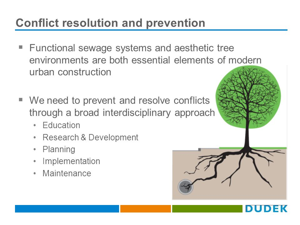 Conflict resolution and prevention Functional sewage systems and aesthetic tree environments are both essential elements of modern urban construction We need to prevent and resolve conflicts through a broad interdisciplinary approach Education Research & Development Planning Implementation Maintenance