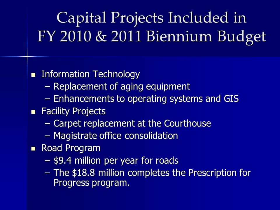 Capital Projects Included in FY 2010 & 2011 Biennium Budget Information Technology Information Technology –Replacement of aging equipment –Enhancement
