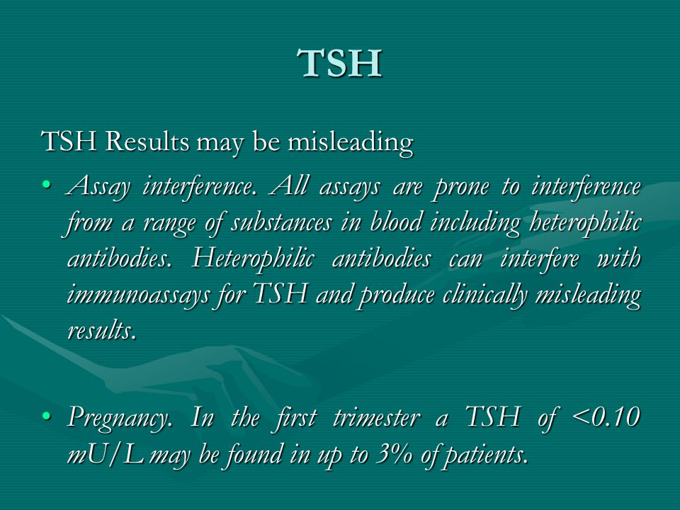 TSH TSH Results may be misleading Assay interference. All assays are prone to interference from a range of substances in blood including heterophilic