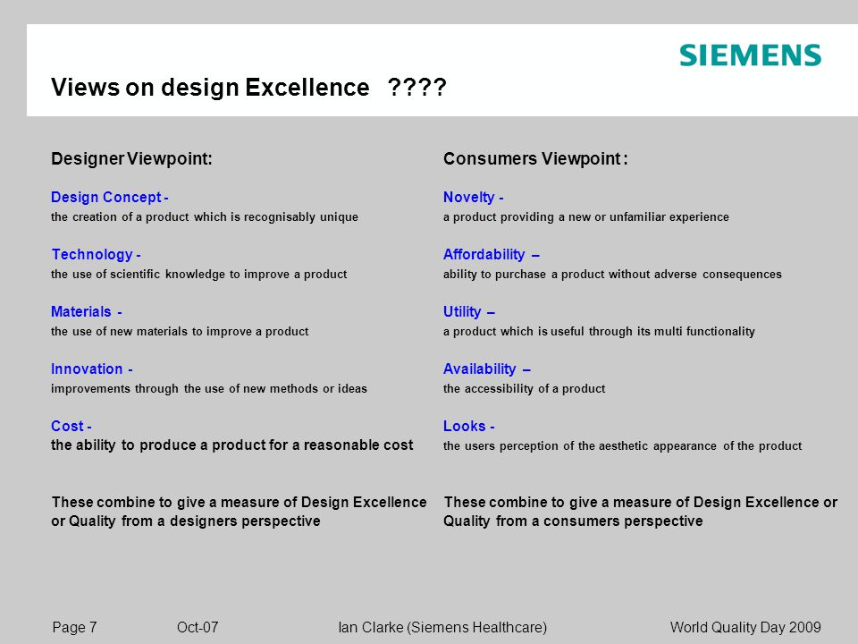 Page 7 Oct-07 World Quality Day 2009Ian Clarke (Siemens Healthcare) Views on design Excellence ???.