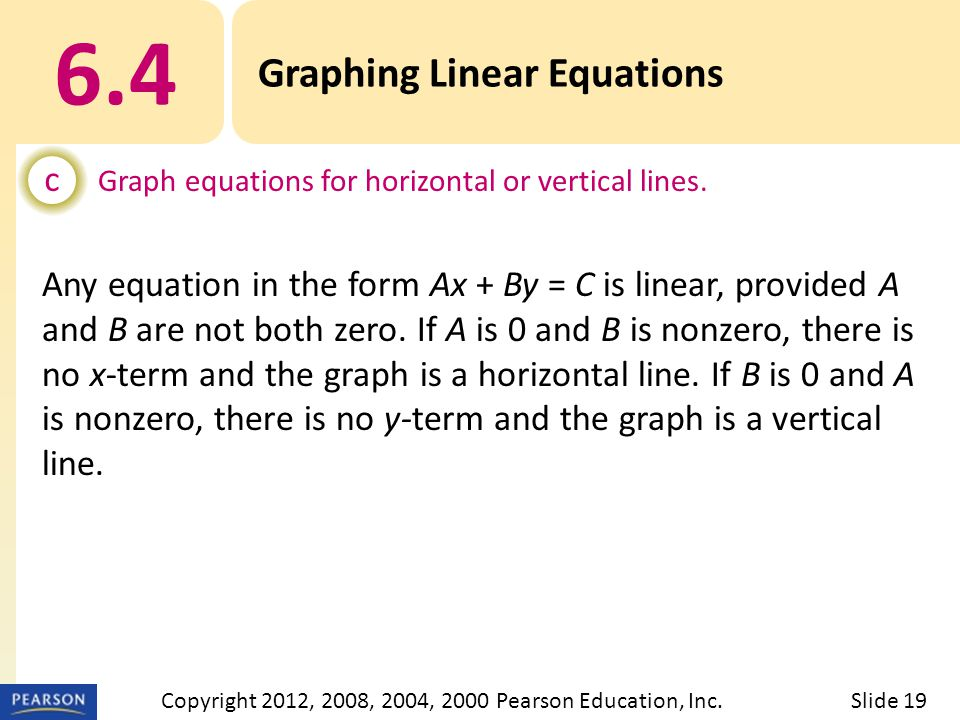 6.4 Graphing Linear Equations c Graph equations for horizontal or vertical lines.