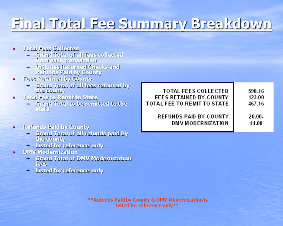 Final Total Fee Summary Breakdown Total Fees CollectedTotal Fees Collected –Grand Total of all fees collected from each transaction –Includes Returned Checks and Refunds Paid by County Fees Retained by CountyFees Retained by County –Grand Total of all fees retained by the county Total Fee to Remit to StateTotal Fee to Remit to State –Grand Total to be remitted to the state Refunds Paid by CountyRefunds Paid by County –Grand Total of all refunds paid by the county –Listed for reference only DMV ModernizationDMV Modernization –Grand Total of DMV Modernization fees –Listed for reference only **Refunds Paid by County & DMV Modernization is listed for reference only**