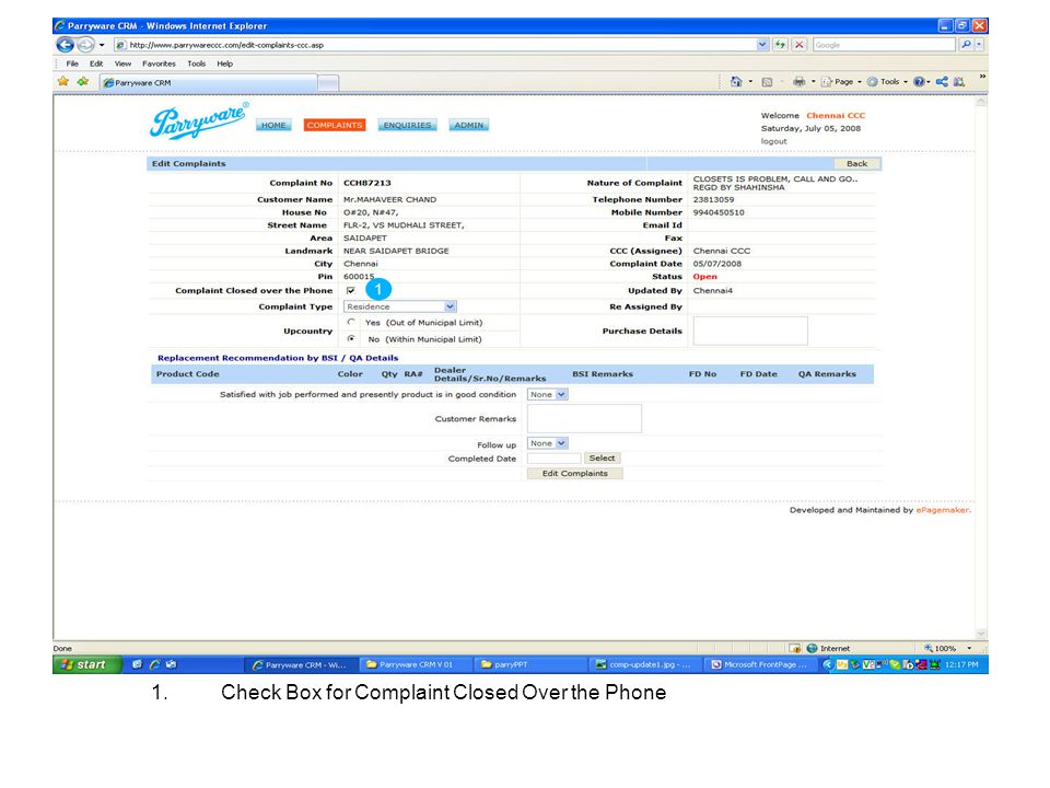 1.Check Box for Complaint Closed Over the Phone