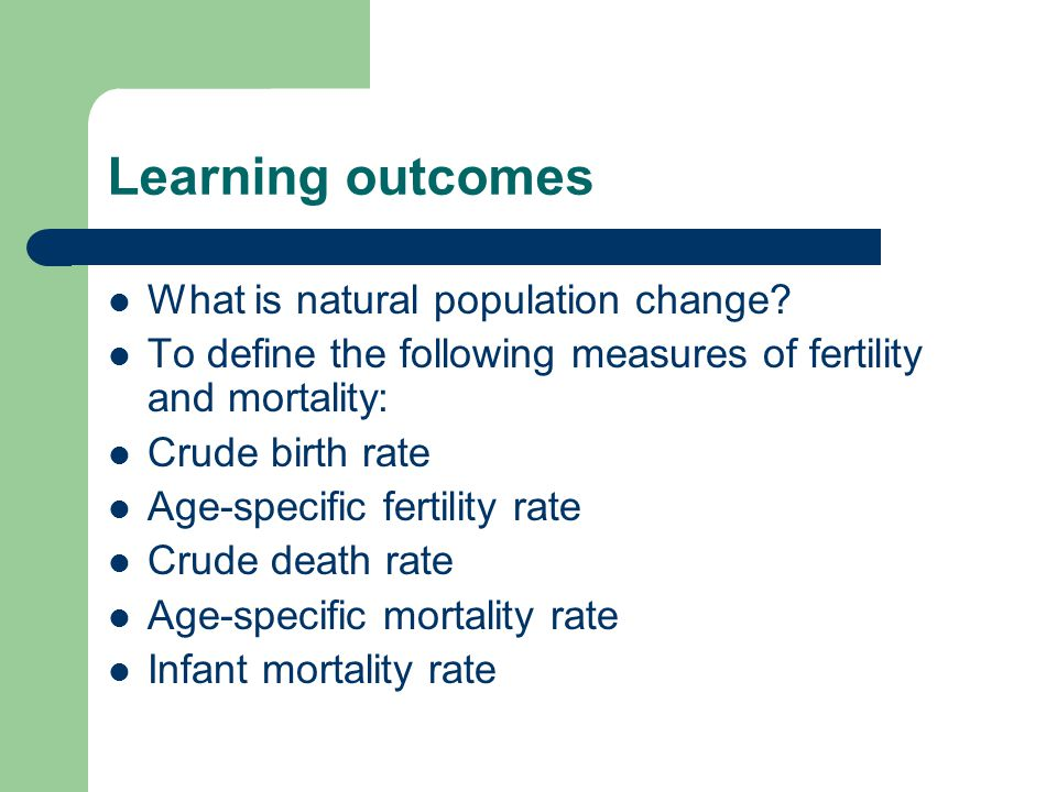 Learning outcomes What is natural population change.