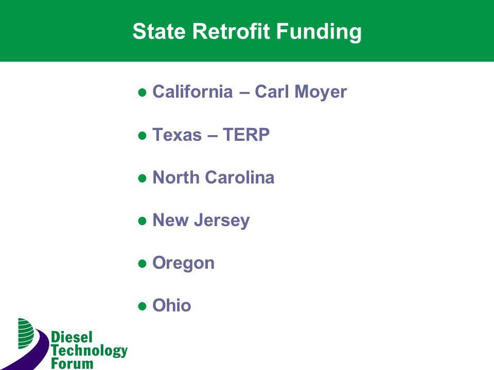 State Retrofit Funding California – Carl Moyer Texas – TERP North Carolina New Jersey Oregon Ohio