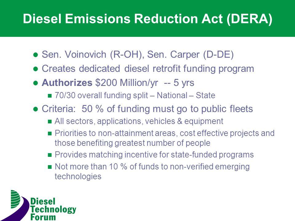 Diesel Emissions Reduction Act (DERA) Sen. Voinovich (R-OH), Sen.