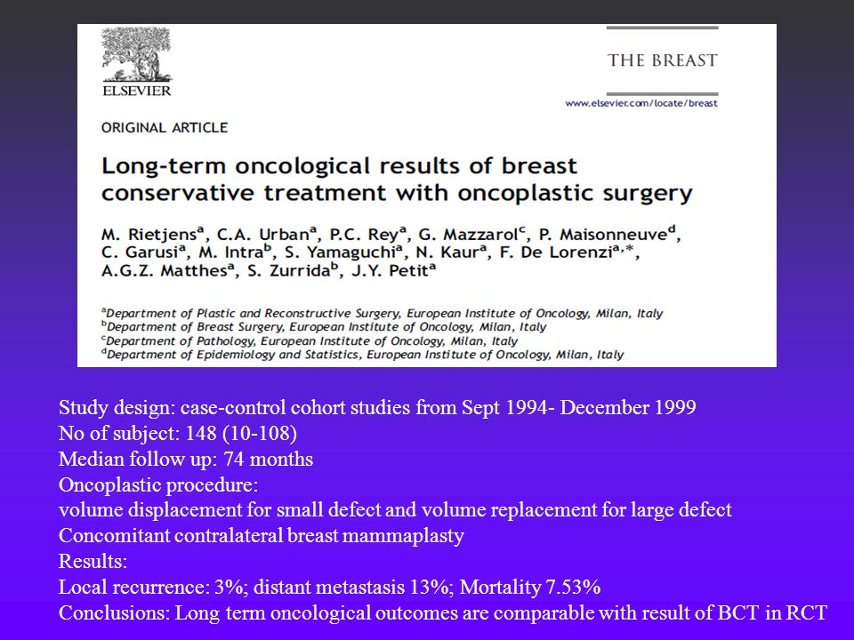 Study design: case-control cohort studies from Sept 1994- December 1999 No of subject: 148 (10-108) Median follow up: 74 months Oncoplastic procedure: