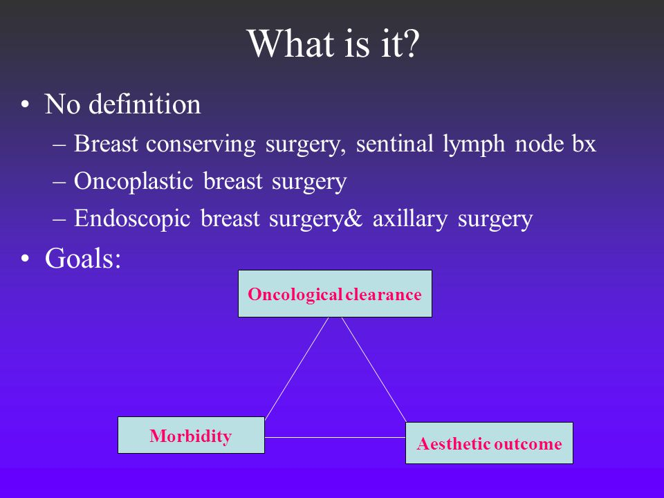 What is it? No definition –Breast conserving surgery, sentinal lymph node bx –Oncoplastic breast surgery –Endoscopic breast surgery& axillary surgery