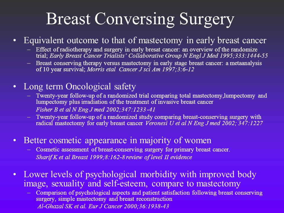 Breast Conversing Surgery Equivalent outcome to that of mastectomy in early breast cancer –Effect of radiotherapy and surgery in early bresat cancer: