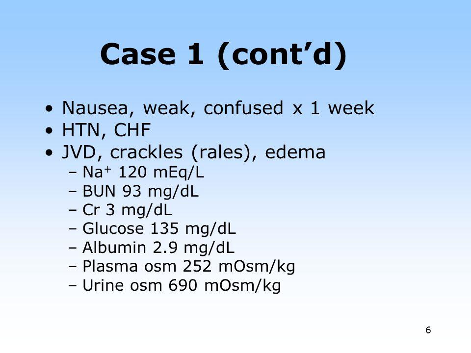 6 Case 1 (contd) Nausea, weak, confused x 1 week HTN, CHF JVD, crackles (rales), edema –Na + 120 mEq/L –BUN 93 mg/dL –Cr 3 mg/dL –Glucose 135 mg/dL –A