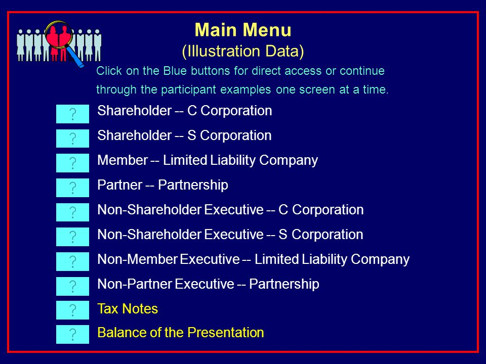 Shareholder -- C Corporation Shareholder -- S Corporation Member -- Limited Liability Company Partner -- Partnership Non-Shareholder Executive -- C Corporation Non-Shareholder Executive -- S Corporation Non-Member Executive -- Limited Liability Company Non-Partner Executive -- Partnership Tax Notes Click on the Blue buttons for direct access or continue through the participant examples one screen at a time.
