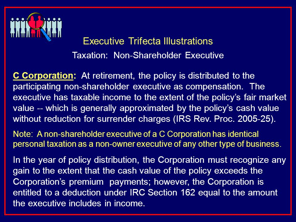 C Corporation: At retirement, the policy is distributed to the participating non-shareholder executive as compensation.