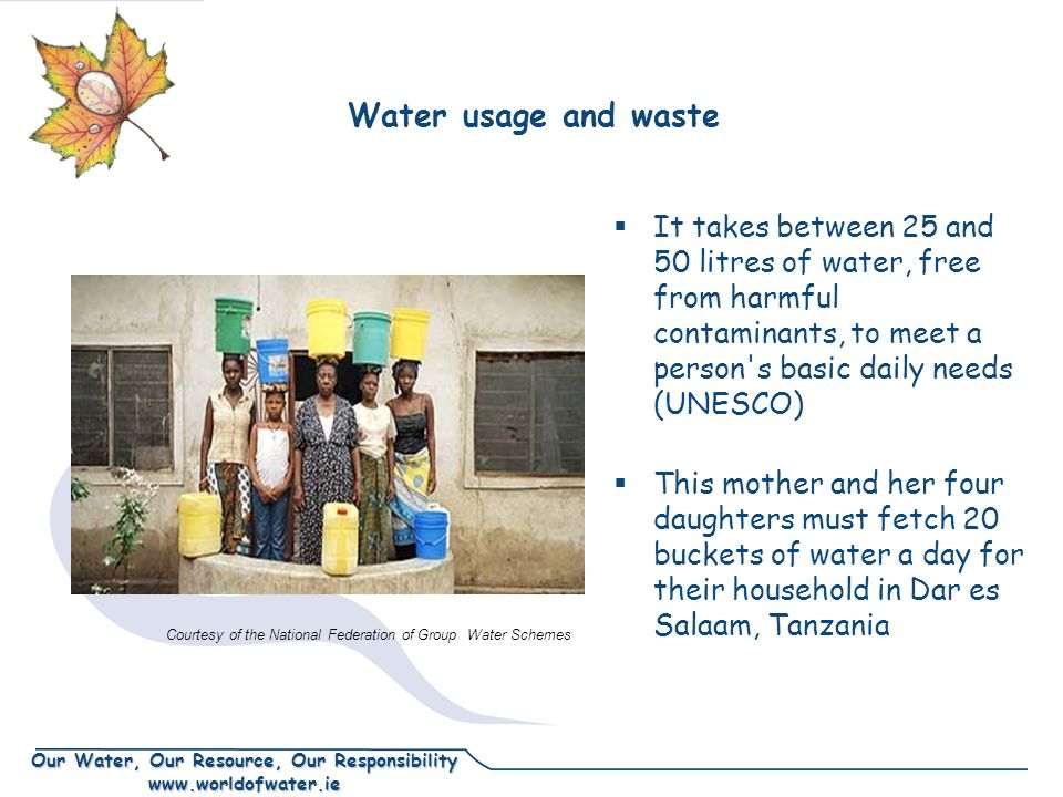 Our Water, Our Resource, Our Responsibility www.worldofwater.ie Water usage and waste It takes between 25 and 50 litres of water, free from harmful contaminants, to meet a person s basic daily needs (UNESCO) This mother and her four daughters must fetch 20 buckets of water a day for their household in Dar es Salaam, Tanzania Courtesy of the National Federation of Group Water Schemes