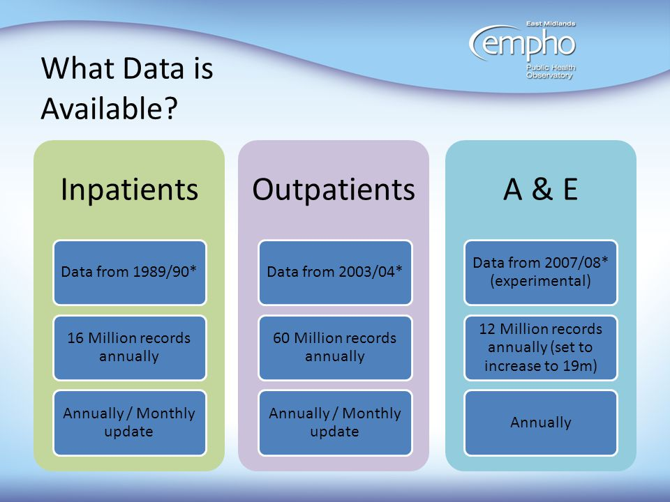 Limitations of HES Specific data-quality issues: Boundary and organisational changes over time.