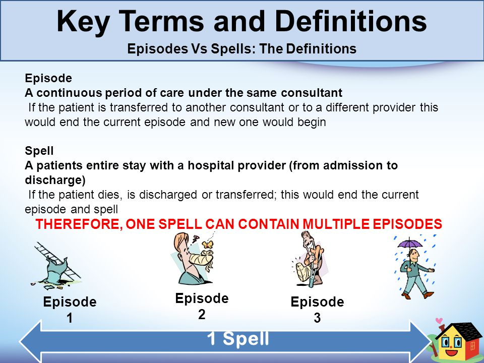 Key Terms and Definitions Episodes Vs Spells: The Definitions Episode A continuous period of care under the same consultant If the patient is transfer