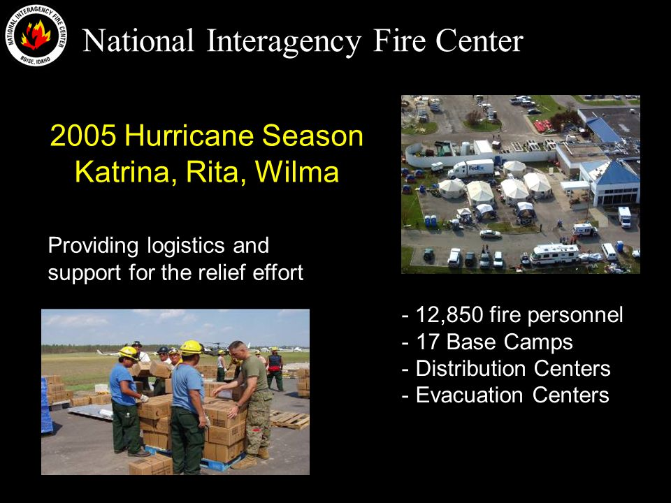 National Interagency Fire Center 2005 Hurricane Season Katrina, Rita, Wilma - 12,850 fire personnel - 17 Base Camps - Distribution Centers - Evacuation Centers Providing logistics and support for the relief effort