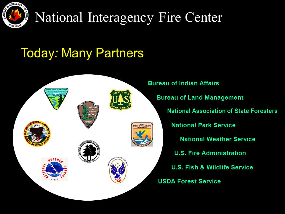 National Interagency Fire Center Today: Many Partners Bureau of Land Management National Park Service Bureau of Indian Affairs U.S.