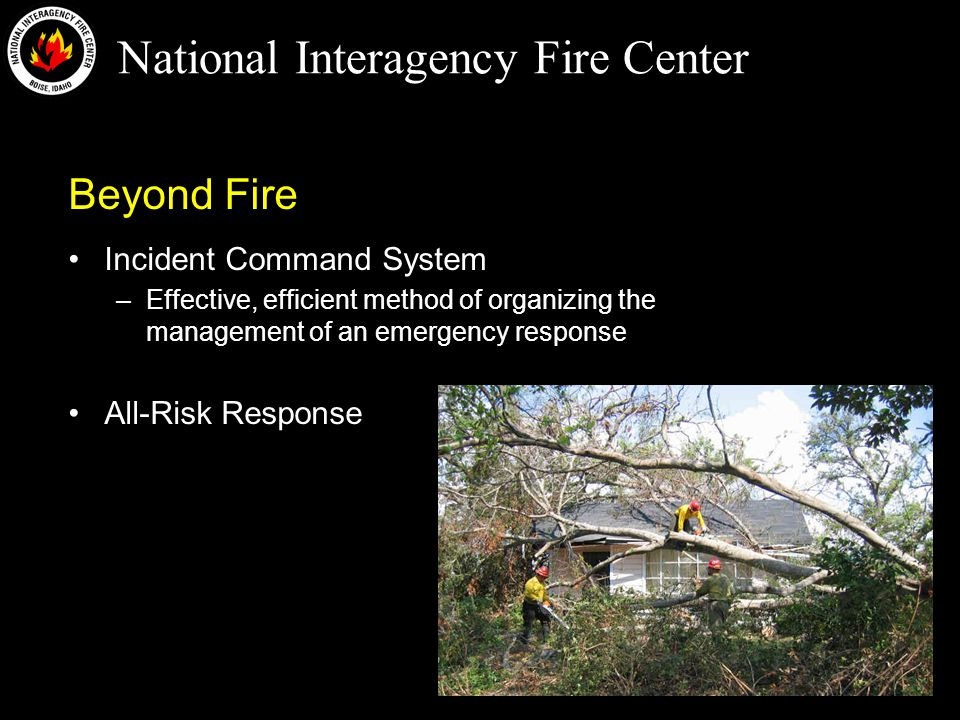 National Interagency Fire Center Frequency Management The National Interagency Incident Communication Division (NIICD) has 28 permanent VHF FM Frequencies assigned (7 tactical, 7 air, 7 repeater pairs (14 frequencies) –These NIICD frequencies are not cleared nationally, so they are not available to support all incidents
