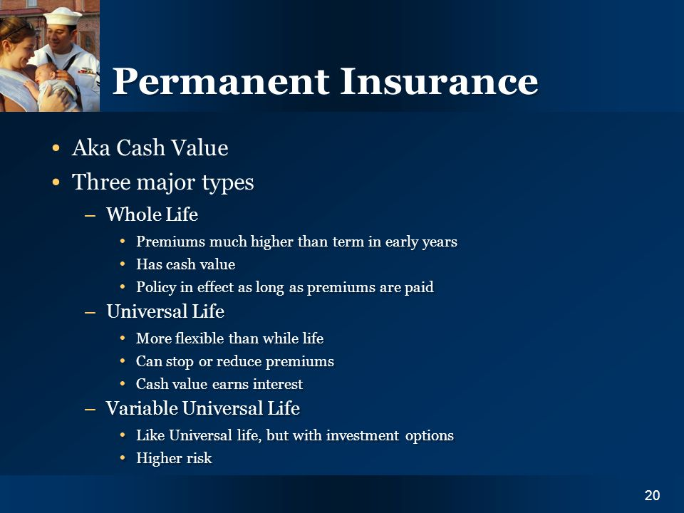 Y O U R I N S U R A N C E N E E D S20 Permanent Insurance Aka Cash Value Three major types – Whole Life Premiums much higher than term in early years Has cash value Policy in effect as long as premiums are paid – Universal Life More flexible than while life Can stop or reduce premiums Cash value earns interest – Variable Universal Life Like Universal life, but with investment options Higher risk Aka Cash Value Three major types – Whole Life Premiums much higher than term in early years Has cash value Policy in effect as long as premiums are paid – Universal Life More flexible than while life Can stop or reduce premiums Cash value earns interest – Variable Universal Life Like Universal life, but with investment options Higher risk 20