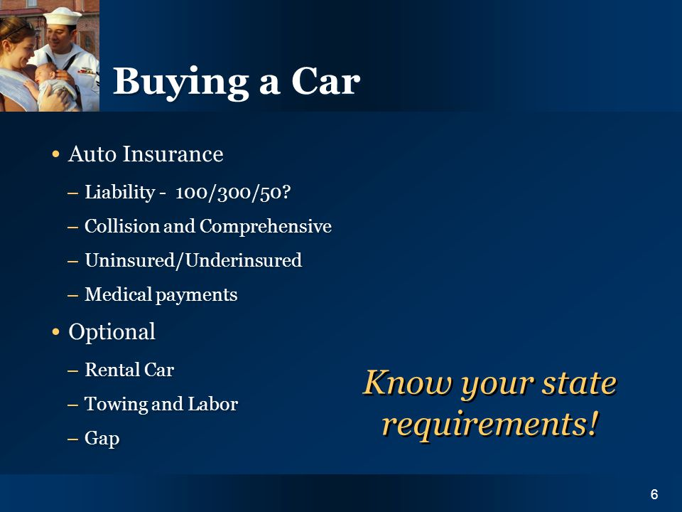 Y O U R I N S U R A N C E N E E D S6 Buying a Car Auto Insurance – Liability - 100/300/50.