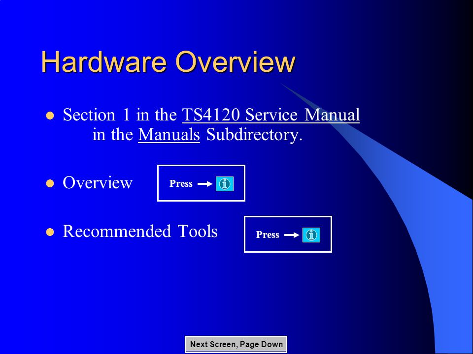 Hardware Overview Section 1 in the TS4120 Service Manual in the Manuals Subdirectory.