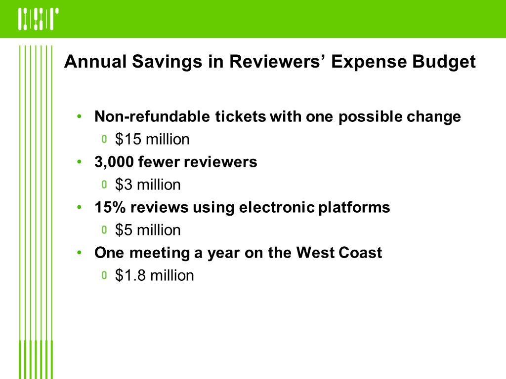 Annual Savings in Reviewers Expense Budget Non-refundable tickets with one possible change $15 million 3,000 fewer reviewers $3 million 15% reviews using electronic platforms $5 million One meeting a year on the West Coast $1.8 million
