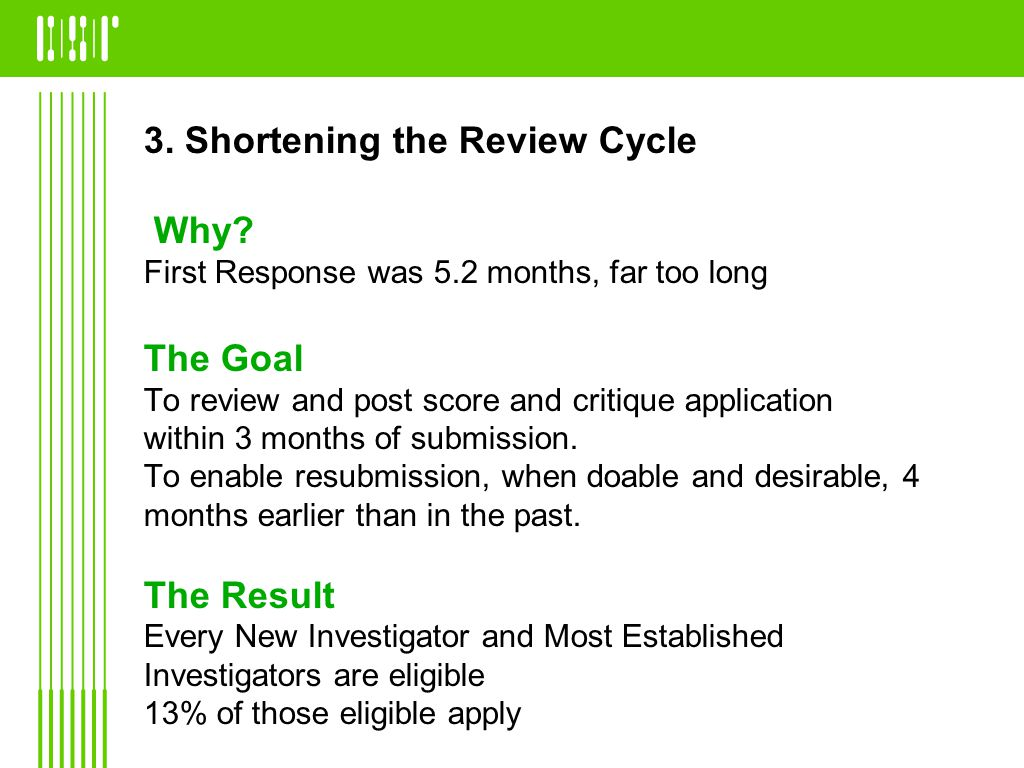 3. Shortening the Review Cycle Why? First Response was 5.2 months, far too long The Goal To review and post score and critique application within 3 mo