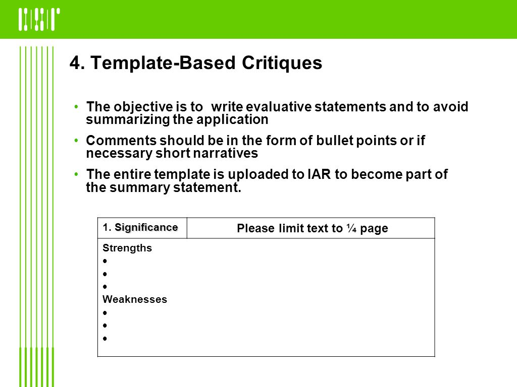 4. Template-Based Critiques The objective is to write evaluative statements and to avoid summarizing the application Comments should be in the form of