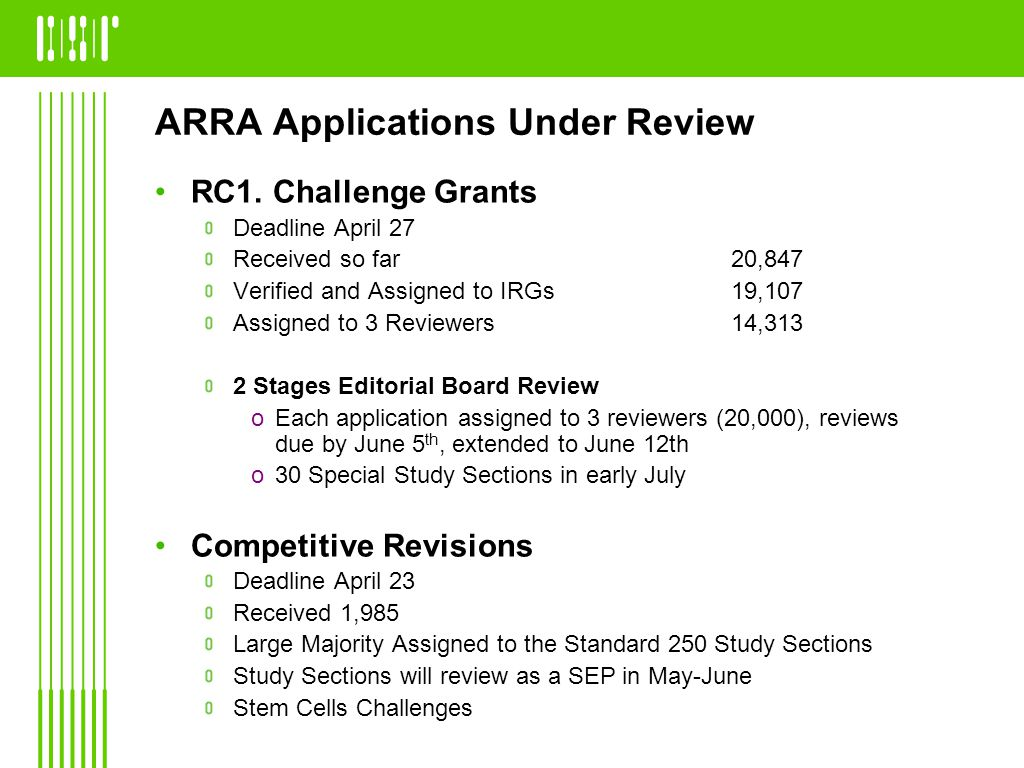 ARRA Applications Under Review RC1. Challenge Grants Deadline April 27 Received so far 20,847 Verified and Assigned to IRGs19,107 Assigned to 3 Review