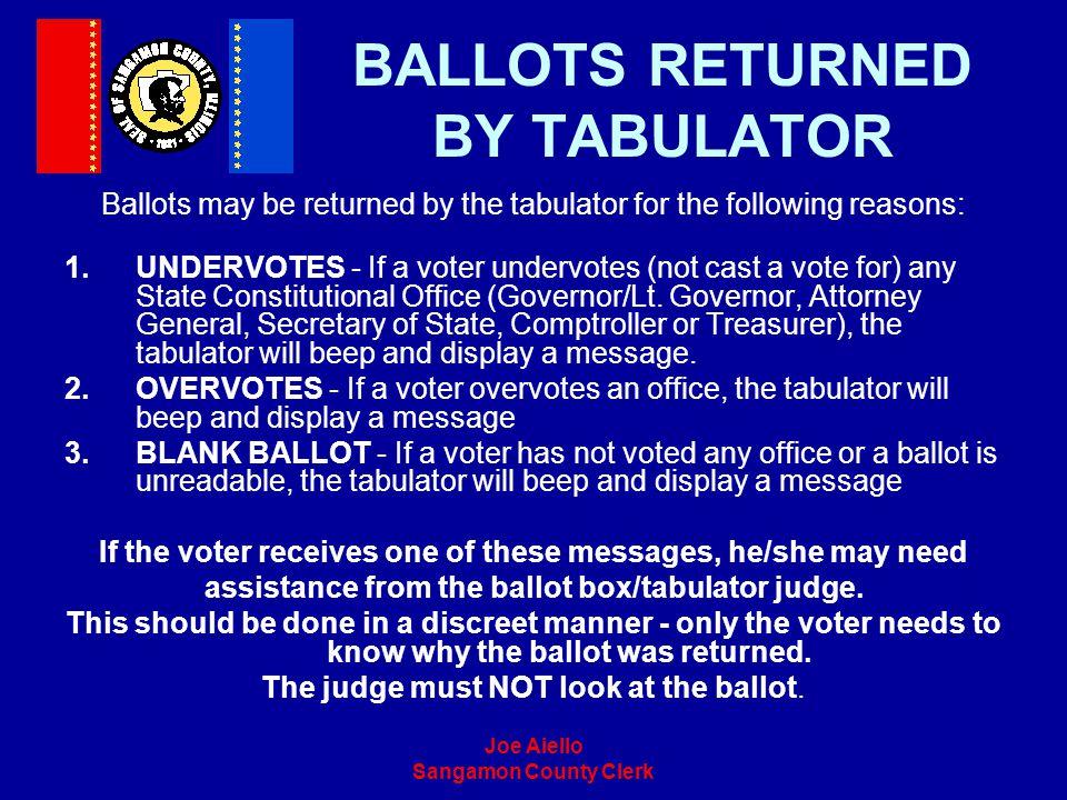 Joe Aiello Sangamon County Clerk BALLOTS RETURNED BY TABULATOR Ballots may be returned by the tabulator for the following reasons: 1.UNDERVOTES - If a