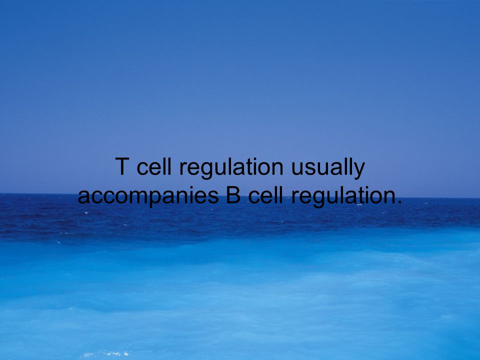 T cell regulation usually accompanies B cell regulation.