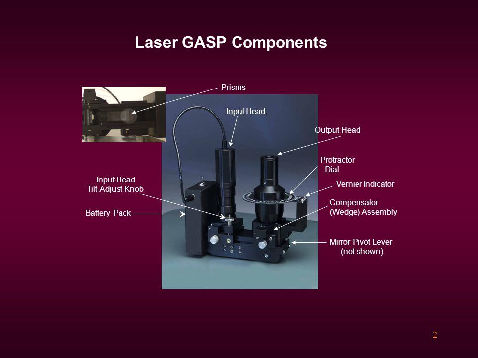 2 Laser GASP Components Compensator (Wedge) Assembly Battery Pack Output Head Input Head Input Head Tilt-Adjust Knob Mirror Pivot Lever (not shown) Protractor Dial Vernier Indicator Prisms
