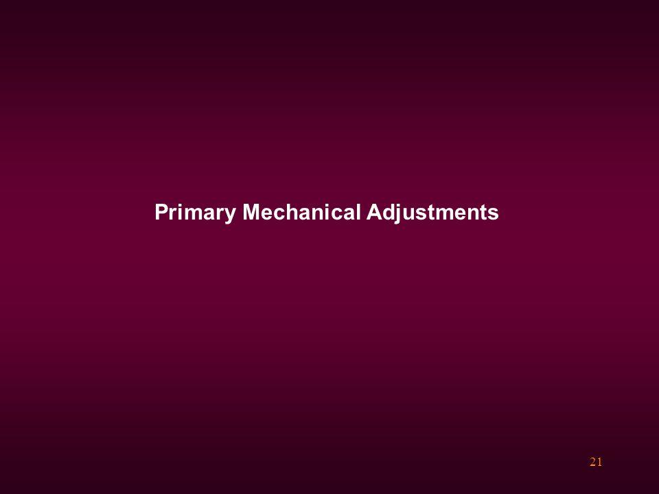 21 Primary Mechanical Adjustments
