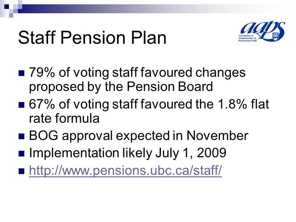 Staff Pension Plan 79% of voting staff favoured changes proposed by the Pension Board 67% of voting staff favoured the 1.8% flat rate formula BOG approval expected in November Implementation likely July 1,