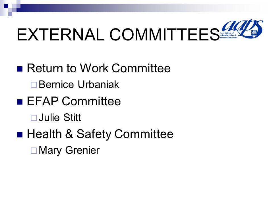EXTERNAL COMMITTEES Return to Work Committee Bernice Urbaniak EFAP Committee Julie Stitt Health & Safety Committee Mary Grenier