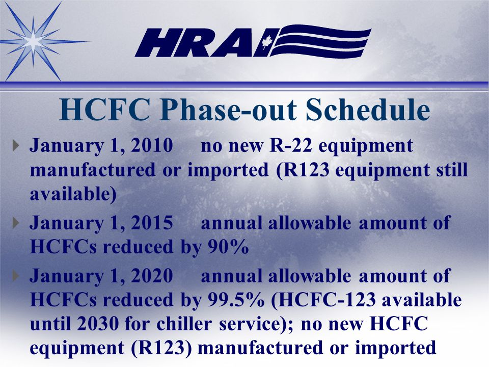 HCFC Phase-out Schedule January 1, 2010no new R-22 equipment manufactured or imported (R123 equipment still available) January 1, 2015annual allowable amount of HCFCs reduced by 90% January 1, 2020annual allowable amount of HCFCs reduced by 99.5% (HCFC-123 available until 2030 for chiller service); no new HCFC equipment (R123) manufactured or imported