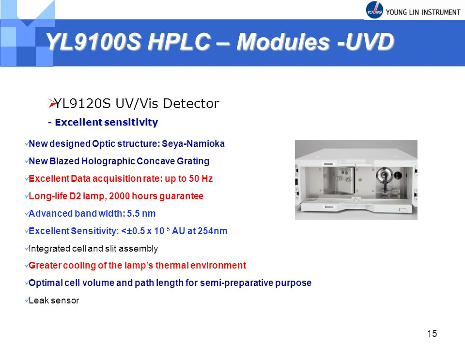 15 YL9100S HPLC – Modules -UVD YL9120S UV/Vis Detector - Excellent sensitivity New designed Optic structure: Seya-Namioka New Blazed Holographic Concave Grating Excellent Data acquisition rate: up to 50 Hz Long-life D2 lamp, 2000 hours guarantee Advanced band width: 5.5 nm Excellent Sensitivity: <±0.5 x AU at 254nm Integrated cell and slit assembly Greater cooling of the lamps thermal environment Optimal cell volume and path length for semi-preparative purpose Leak sensor